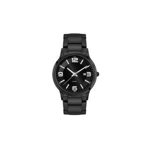 Ladies Black Case Watch Ladies Black Stainless Steel Case, Black Sunray Dial, and Black Stainless St